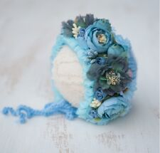Handmade Flower Bonnet Hat for Newborn Baby Girl Photo Prop Photography