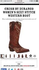 Durango Crush Brown Cowgirl Western Boots DCRD133 Sexy Stitch Women's 10