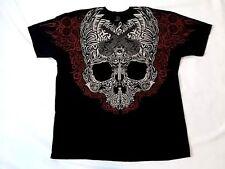 Tattoo Skull Guitar T Shirt Tribal Black Red XXL Liquid Blue Retired HTF