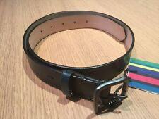 "PAUL SMITH MEN'S BURNISHED LEATHER BLACK/GREY CONTUR BUCKLE BELT 30"" NWT £135"