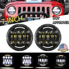 DOT 7inch Round LED Headlight Pair Halo Angle Eye Fit for Jeep Wrangler JK LJ TJ