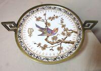 antique 1860 Fischer & Mieg Bohemian painted porcelain gilt bronze tazza compote