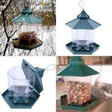 Green Pavilion Bird Feeder Plastic Hanging Bird Food Container Garden Decor