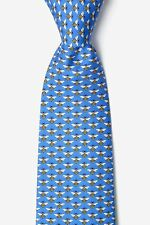 Mens Alynn 100% Silk Micro Light Blue with Yellow Bumble Bees Necktie Tie