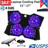 """12""""-17"""" Laptop Cooling Pad Cooler Pad Chill Mat 4 Quiet Fans LED Light FREE SHIP"""