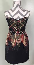 Urban Outfitters Ecote Womens Black Tan Geometric Tribal Strapless Dress Sz L