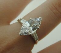 14 carat white gold & cubic zirconia marquise cut ring 3.7 grams size O