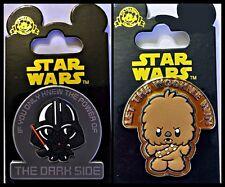 Disney Parks 2 Pins Lot Star Wars Cuties Let the WOOKIEE win + Darth -- NEW