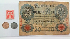 WW2  Rare 1RP German Coins and Stamp & 20 Mark Bill in Holder.