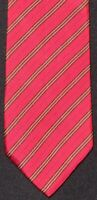 #1 MENSWEAR Burberry London Made in Italy Red Tan Repp Twill Silk Tie ICONIC NR