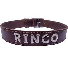 Medium/Large Personalised Brown Leather Designer Dog Collar