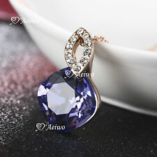 18K ROSE GOLD GF MADE WITH SWAROVSKI CRYSTAL PENDANT NECKLACE PURPLE