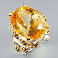 Handmade30ct+ Natural Citrine Quartz 925 Sterling Silver Ring Size 8/R124518