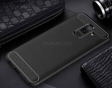 For Samsung Galaxy A6 (2018) Carbon Fibre Case Cover & Glass Screen Protector