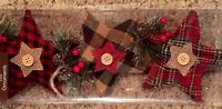 Rustic Plaid And Buffalo Check Star Ornaments Set Of 3 Holly berry Pine cone