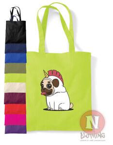 Pug Unicorn dog tote bag canine art fun shopping 100% cotton environmental