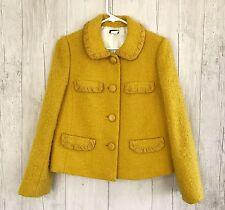 J. Crew Yellow Wool Blend Crop Jacket Button Up Career Lined Blazer sz 4