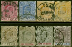 Bahamas 1902-10 set of 8 to 5s SG62-69 (both 4d & 1s) Fine Used