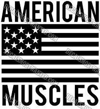 """ AMERICAN MUSCLES "" Workout Motivation Gym wall window decal sticker vinyl"