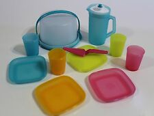 Tupperware Mini Party Toy Set Cake Taker Pitcher Plates Tumblers Turquoise Pink