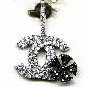 AAA WHITE BLACK CUBIC ZIRCONIA PENDANT 925 STERLING SILVER