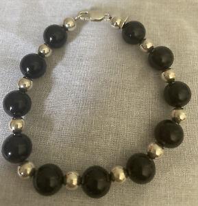 """Tiffany & Co. Sterling Silver 10 mm Black Onyx Beaded 7.75"""" Bracelet"""