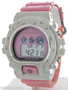 King Master Unisex Silver-tone Pink Rubber Strap Diamond .12ct Digital Watch