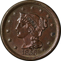 1856 Large Cent Slanting 5 Nice BU N-14 R.1 Great Eye Appeal Nice Strike