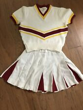 Varsity 1980s Cheerleader Authentic High School Uniform White Yellow Cardinal