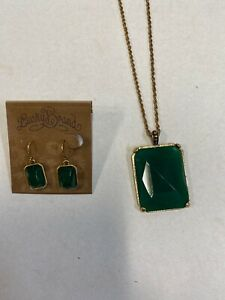 Lucky Brand Necklace & Earring Green Square