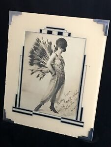 "INSANELY BEAUTIFUL FAN DANCER ""MLLE LA RUE"" IN ART DECO FRAME - SIGNED TO BILLY"