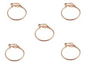 5pcs Rose Gold Plated Bracelets chain Screw bangle Fit Charms Beads 20cm
