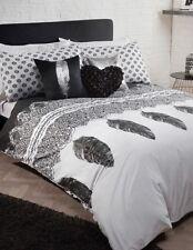 LUXURY Silver Metallic Black White Feather DOUBLE Duvet Set NEW Chic Boudoir