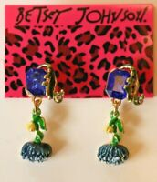 Betsey Johnson Crystal Rhinestone Enamel Flower Post Earrings