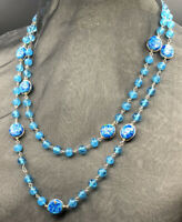 """48"""" Vintage Aegean Blue GLASS BEAD NECKLACE (Possibly Murano) Silver Tone #154"""