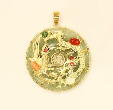 14k gold jade with ruby, coral, emerald, opal, pendant  #b3
