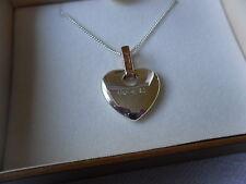 Clogau Silver & Rose Welsh Gold Cariad Heart Diamond Pendant RRP £239.00