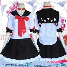 Anime Kawaii Neko JK Uniform Cosplay Costume Lolita Dress Harajuku Bow#TK4
