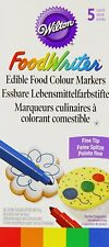 WILTON CAKE MAKING 5 PACK PRIMARY COLOURS EDIBLE FOOD WRITER MARKER PENS COOKIES