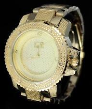 Lavish 14k Gold Tone Ice Master CZ Stone Hip Hop Metal Bracelet Mens Bling Watch