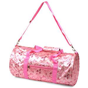 Pink Ballerina Princess Girls Barrel Duffel Sport Gym Dance Overnight Travel Bag