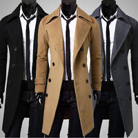 Men Slim Stylish Trench Coat Winter Long Jacket Outwear Double Breasted Overcoat