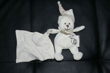 Doudou ours blanc ecru cotele avec mouchoir BABYNAT BABY NAT coton bio 14 cm