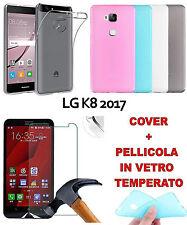 CUSTODIA COVER TPU COLORATA per  SMARTPHONE LG K8 2017 + PELLICOLA IN VETRO