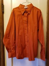 Rust LS Wrinkle Free Shirt Blouse Christopher & Banks Size L