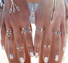 6Pcs Silver Tone Turquoise Arrow Moon Rings Set Lady Women Statement Jewelry
