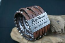 NWOT Good Works Leather Studded Bracelet Six (6) Strand cuff Leather Cuff
