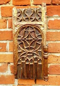 Mid 15thC French Antique Carved Oak Blind Gothic Tracery Panel - Original Paint