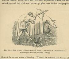 ANTIQUE HUNTER HUNTING TEACHING QUIVER CROSSBOW ARROWS SMALL OLD ART PRINT