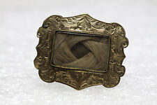 Antique Mourning Brooch Pin With Lock of Hair 10K Gold Ornate Nice Collectible